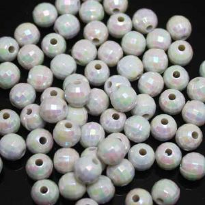 Beads, Acrylic, white, Spherical, Diameter 7mm, NA, 40 Beads, (SLZ0215)